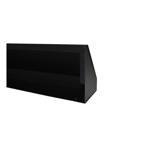 Bottom of Matte Black Fireplace Hood