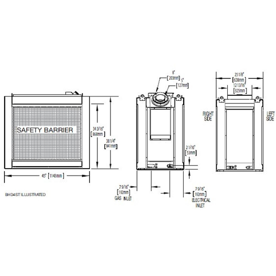 Specs for the Ascent see thru direct vent gas fireplace