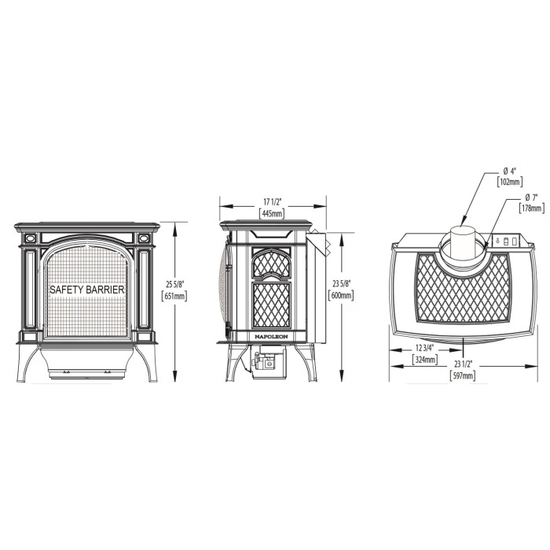 Specs for the Bayfield Direct Vent Gas Stove