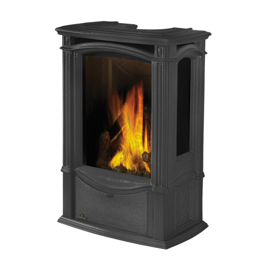 Castlemore Direct Vent Gas Stove shown in Metallic Black