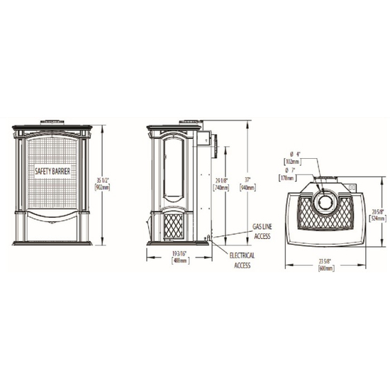 Specs for the Castlemore direct vent gas stove