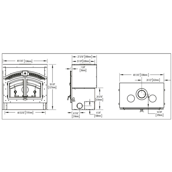Specs for the High Country Wood Burning Fireplace 6000