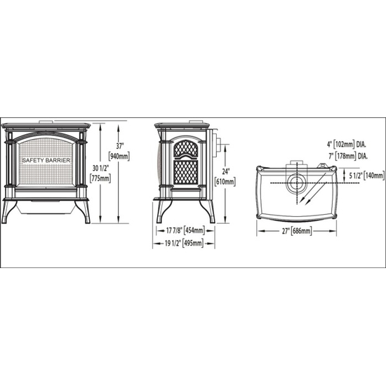 Specs for the Knightsbridge direct vent gas stove