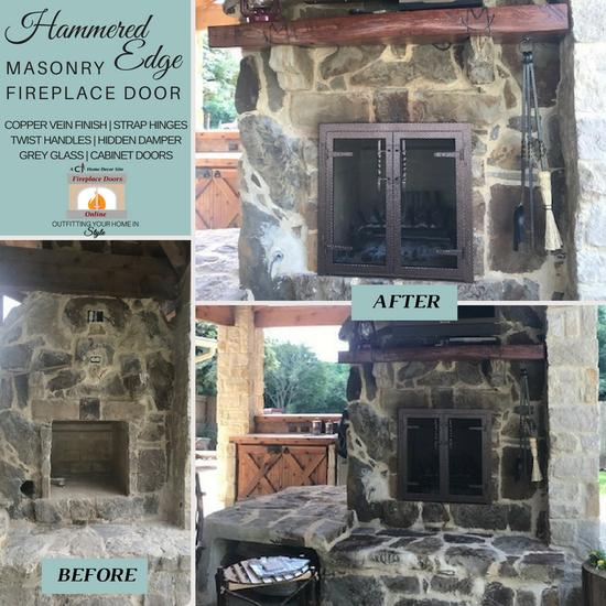 Customer installed Hammered Edge Masonry Fireplace Door!