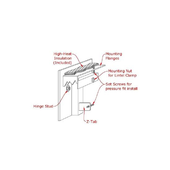 Full Arch Masonry Fireplace Door Mounting Diagram