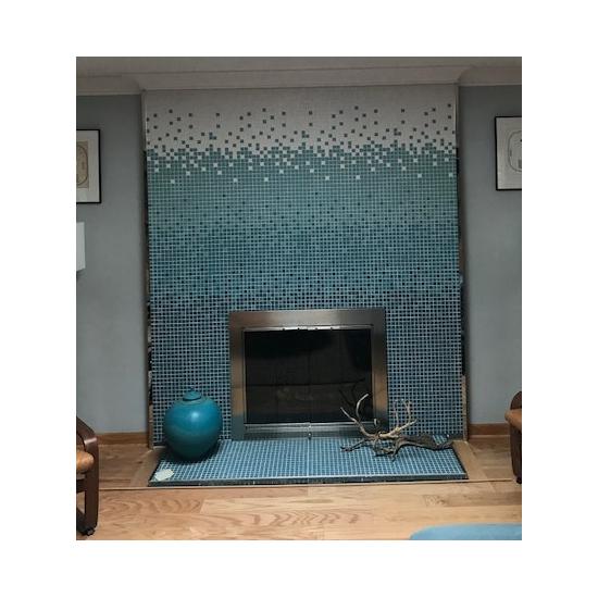 Beautiful satin nickel Slimline Masonry Fireplace Door installed in customer's home!