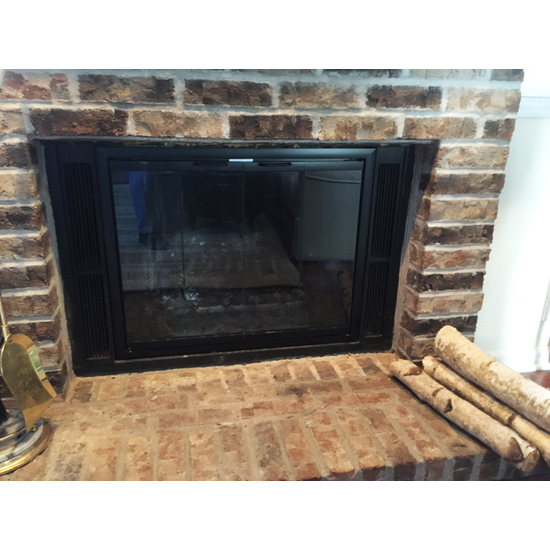 The Pelham Zero Clearance fireplace door in matte black