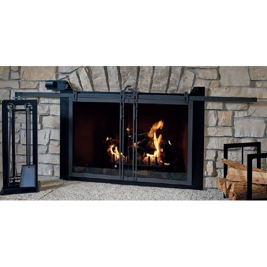 Hudson Remote Control Masonry Fireplace Door in Rustic Black