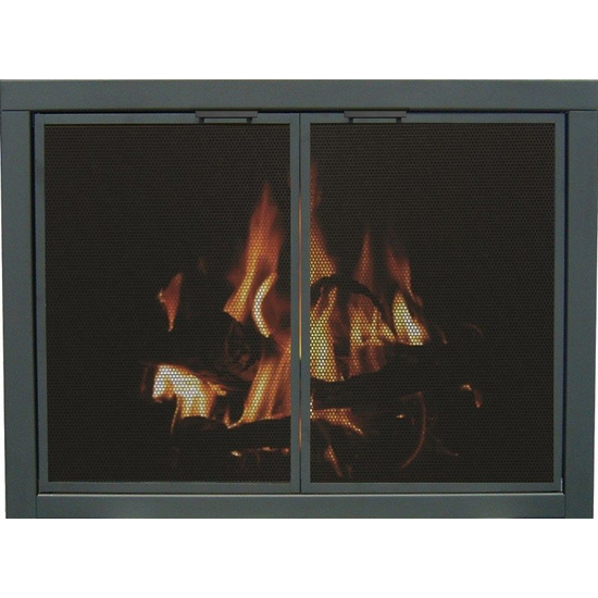 Mesh Zero Clearance Fireplace Door in Textured Black with Square Handles