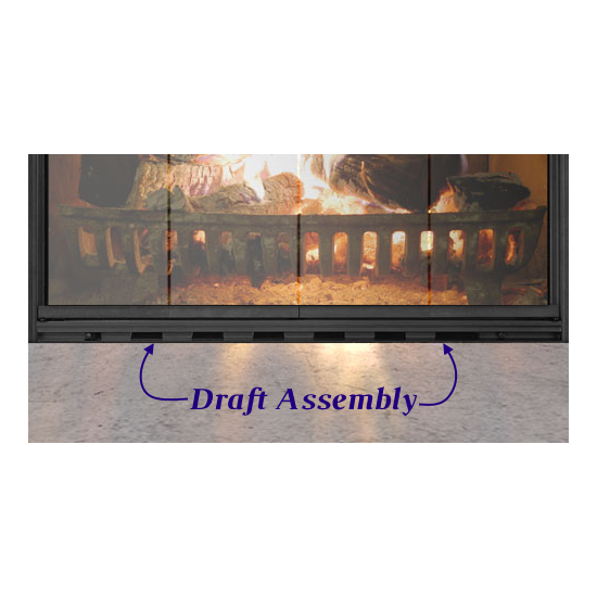 Sion Masonry Fireplace Door - bottom draft assembly