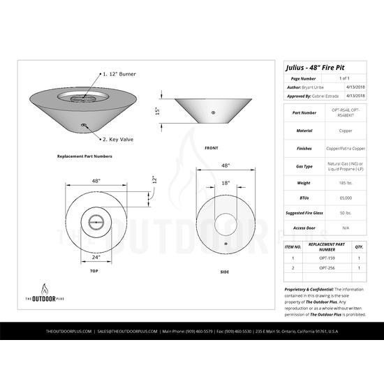 Julius round 48 inch specs sheet