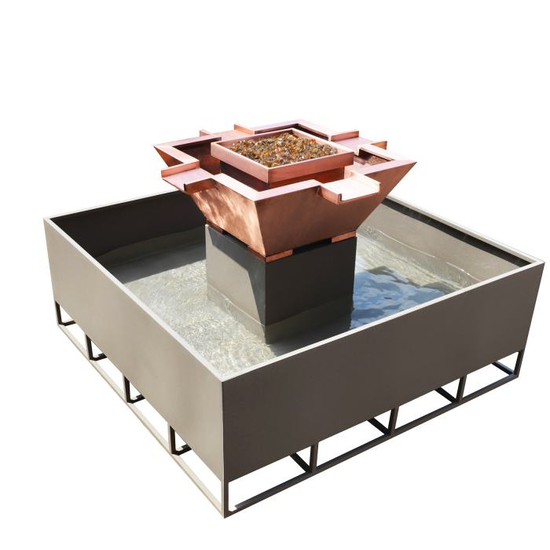 Olympian Copper Square 4-Way Self Contained Fire & Water Bowl 30 Inch