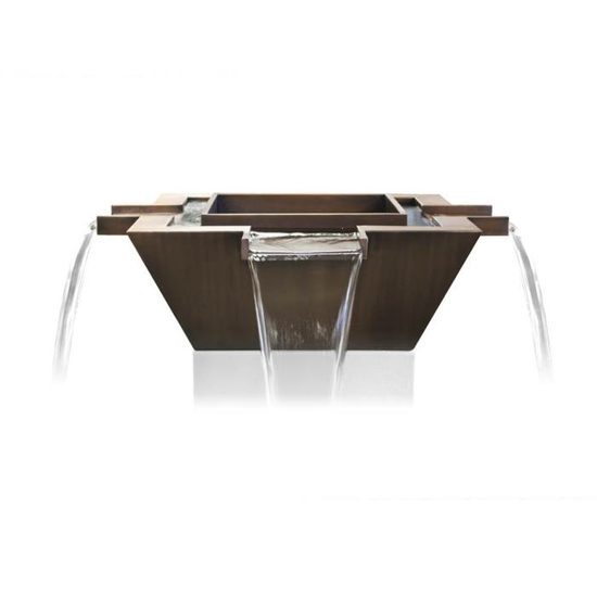 The 30 inch square Maya 4-way copper fire & water bowl can be operated without the burner element!