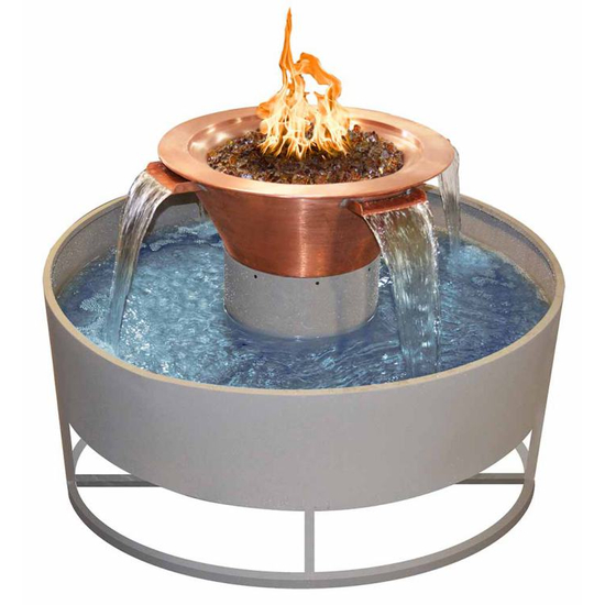 Olympian Round Copper 4-Way Spillway Self Contained Fire & Water Bowl 30 Inch