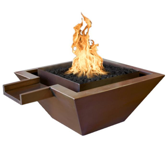 Maya Square Raised Copper Fire & Water Bowl