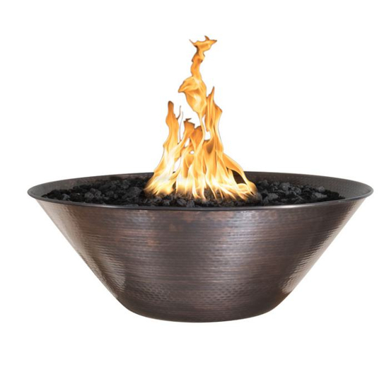 Remi Hammered Copper Round Fire Bowl 31 Inch
