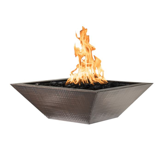 Maya Square Copper Fire Bowl features a hammered finish