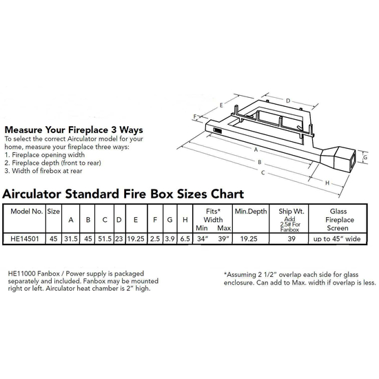 Sizing Chart For Airculator HW14501