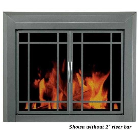 Exeter masonry fireplace door shown without riser bar