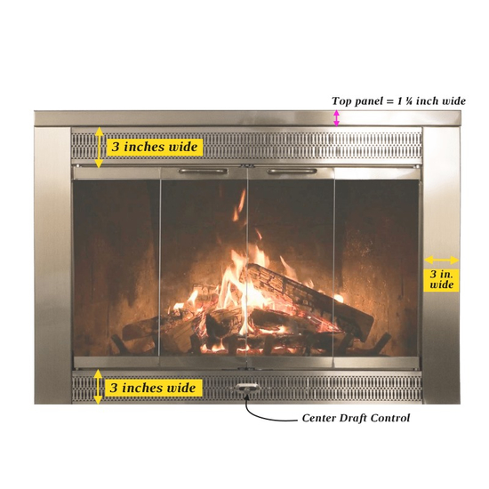 Door dimensions for the Regal masonry fireplace glass door