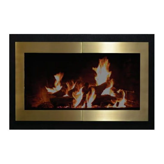 Portland Willamette Broadway Reveal Fireplace Door for prefab fireplaces in Satin Black and Polished Brass