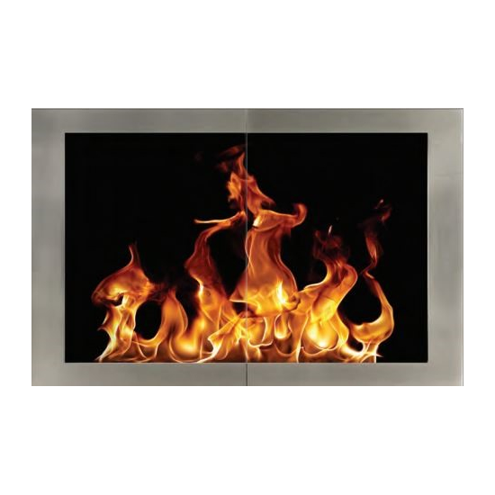Portland Willamette Broadway Fireplace Door for masonry fireplaces with hidden main frame and Polished Nickel door frame