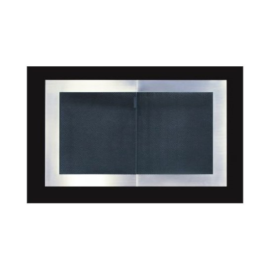 Broadway Reveal zero clearance fireplace door with Satin Black main frame and Brushed Nickel door frame