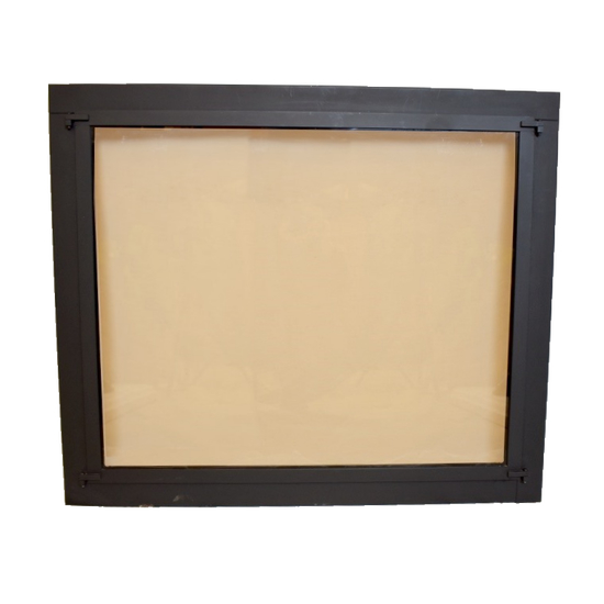 Fixed Panel masonry fireplace door for see through fireplaces - shown in matte black with bronze tempered glass