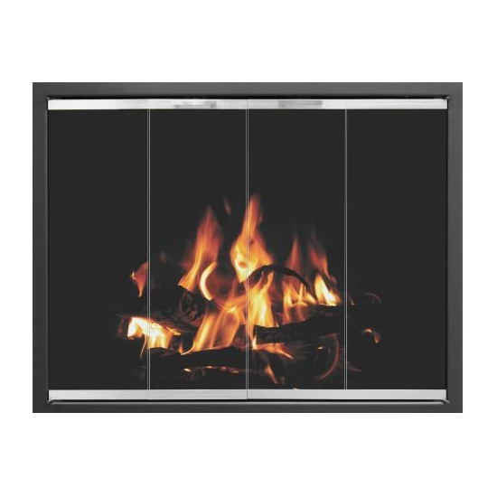 Foundation Prefab Fireplace Door in Matte Black shown in Textured Black main frame with Brite Nickel door frame