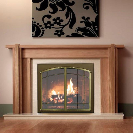 Ovation Arch Conversion door for masonry fireplaces: Textured Mocha main frame with Satin Brass door frame with windwo pane design