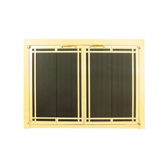 Ovation Fireplace Door shown in Satin Brass with deco design