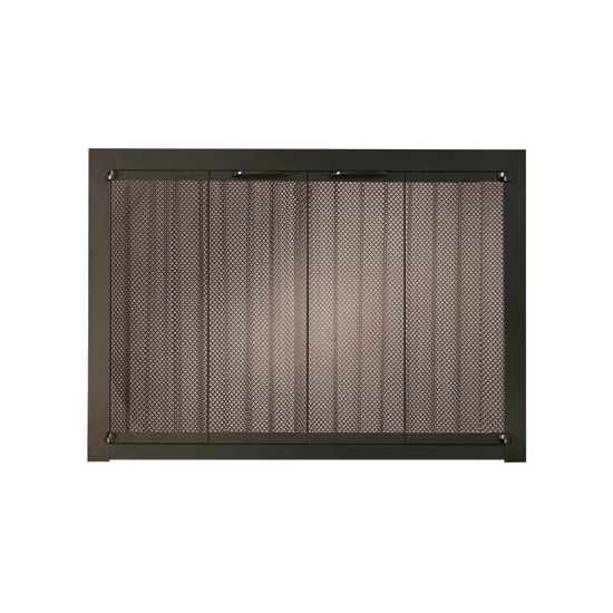 Portland Willamette Ovation Masonry Fireplace Door shown in Brushed Charcoal with full fold full view doors