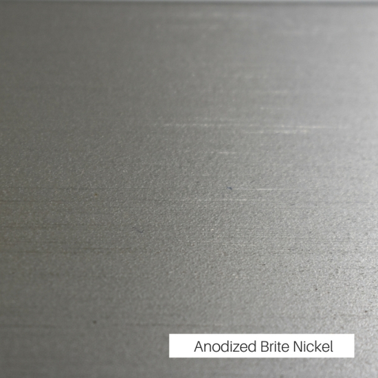 A contrasting Brite Nickel anodized finish has been selected as the trim around the frame
