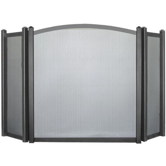 Appalachian Triple Panel Arched Fireplace Screen shown in Charcoal