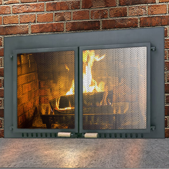 Supreme Air Seal Fireplace Door in Black
