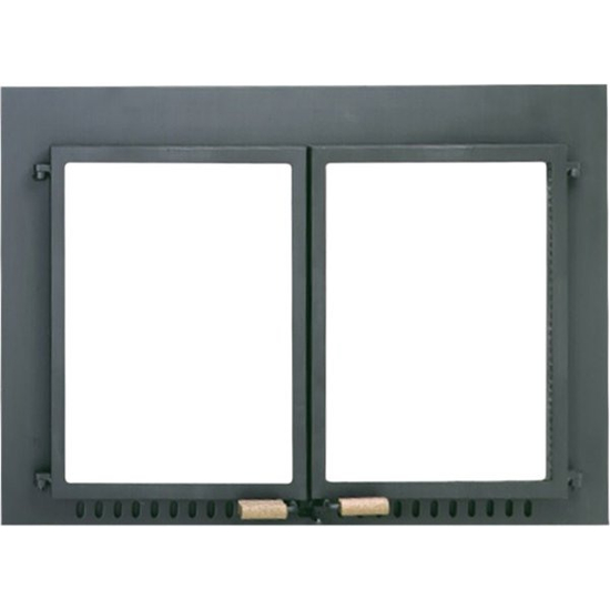Supreme Air Seal Tempered Glass Masonry Fireplace Door in Black