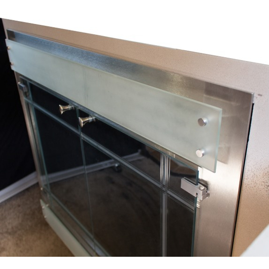 ZC Refacing in Clear Stainless Steel Finish with Etched Glass and Frosted Louvers