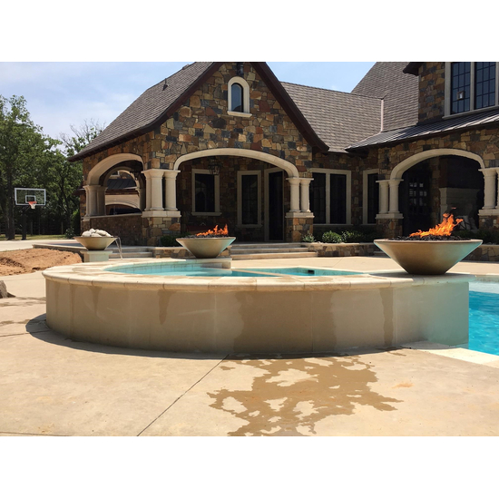 31 Inch Brown Cazo Fire Bowls in a poolscape