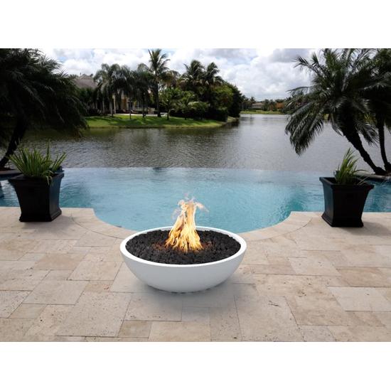 33 Inch Limestone Sedona Fire Bowl in poolscape