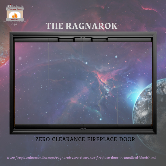Ragnarok Zero Clearance Fireplace Door in Anodized Black