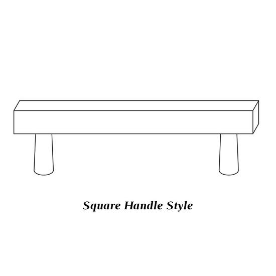 Door features square handles
