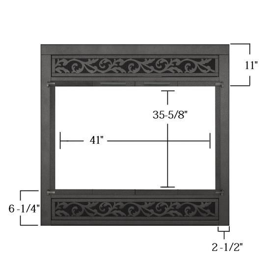atte Black Custom Z Refacing Fireplace Door sizing