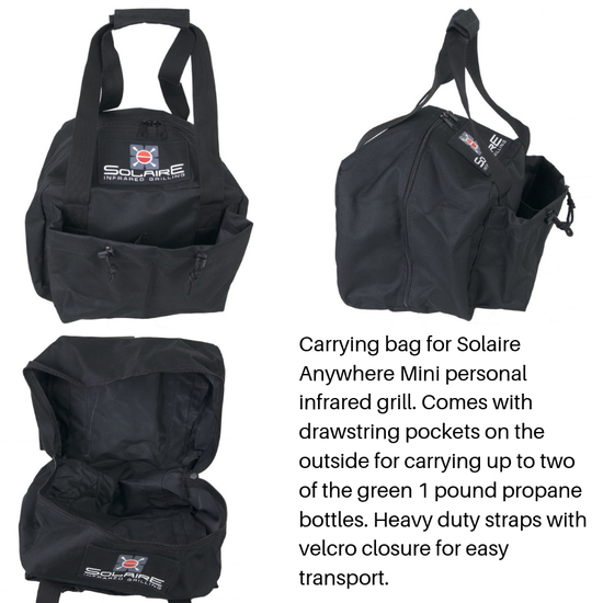 The Anywhere mini has a carrying bag for easy transport of your grill and up to two 1 pound propane bottles!