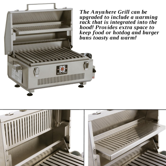 The Anywhere Grill can be upgraded to include a warming rack!