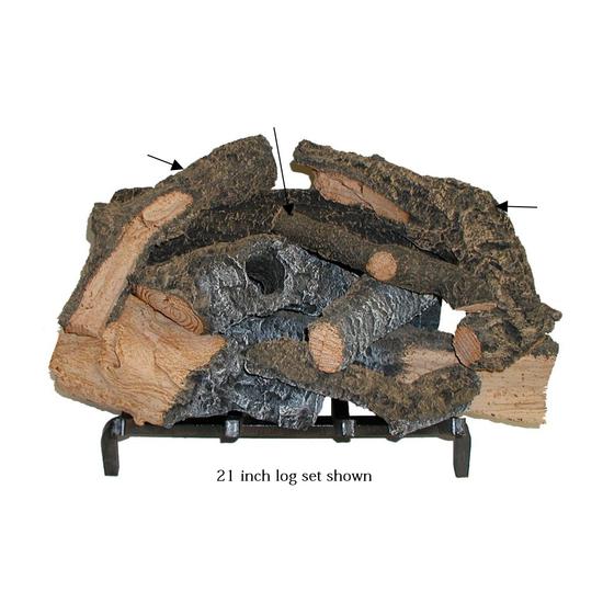 21 inch Rustic Timbers Gas Log Set