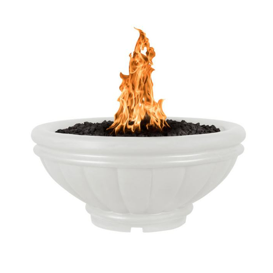 Roma fire bowl shown in limestone