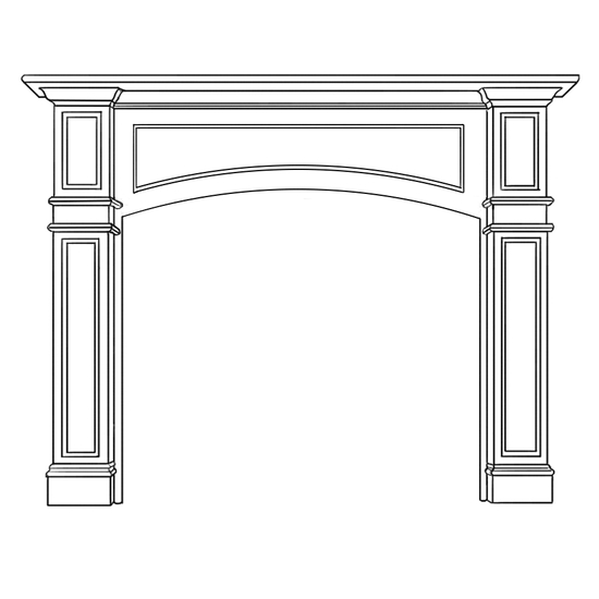 Arched Kingscote Fireplace Wood Mantel