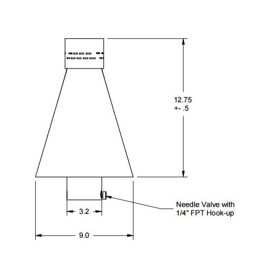 Black aluminum match lit tiki torch head diagram