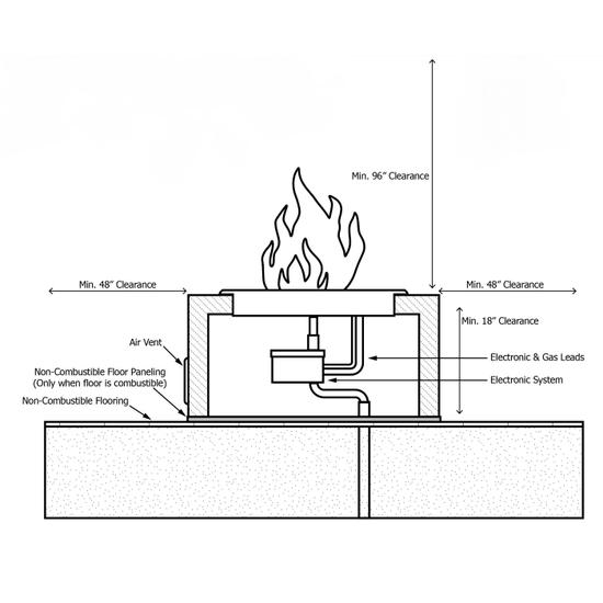 60 Inch Sedona Concrete Gas Fire Pit - Wide Ledge powder coat fire pit installation diagram