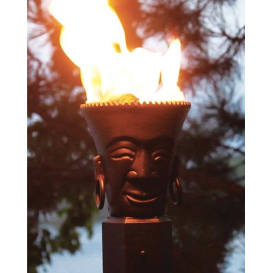 Tribal Head Tiki Torch in Use